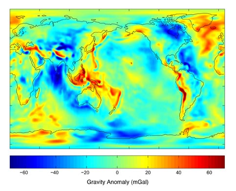 Gravity anomalies from 111 days of GRACE data (GGM01S)