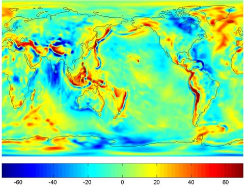 Gravity anomalies from 363 days of GRACE data (GGM02S)