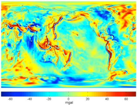 Gravity anomalies from four years (2003-2006) of GRACE data (GGM03S)