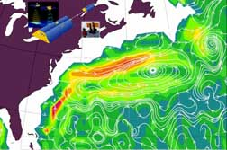 The circulation depicted in this panel is obtained from the GRACE geoid combined with satellite altimetry and ship measurements of ocean temperature and salinity.   Note that the flow direction associated with the Gulf Stream Extension in this figure matches that measured by ship-deployed floats (next panel).